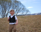 Navy Pin Stripe Boy's Upcycled Vest