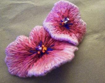 Pink Flowers Brooch