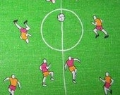 Vintage Novelty print linen European football Soccer player theme Tablecloth