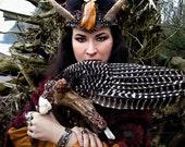 Turkey Feather Smudge Fan Pagan Altar Reiki Magic Quartz Crystal Taxidermy Wing Aragonite Apophyllite SPIRITMASTER by Spinning Castle