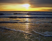 Sunset Waves Beach Fine Art Photography Moody Reflection Oregon Coast Greeting Card CALYPSO CALLING by Spinning Castle