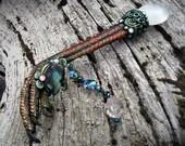 Magic Crystal Wand Green Dragon Claw Oracle Selenite Quartz Labradorite Taxidermy Turkey Spur Foot WYVERN by Spinning Castle