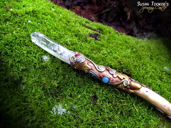 RESERVED Magic Crystal Wand Lemurian Aurora Anandalite Chrysocolla Oak Leaves Wiccan Reiki Pagan Altar WINTERGLADE KISS by Spinning Castle