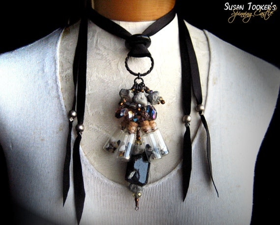 Black Tourmaline Tribal Amulet Necklace Apothecary Jar Vial Stone Beads Pagan Ritual Pendant MERLIN'S REALM by Spinning Castle