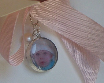 Photo charm memento mini - personalized photo charm only - with freshwater pearl