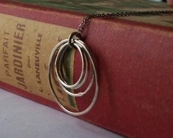 Oxidized Silver Rustic Circles on Sterling Silver Chain