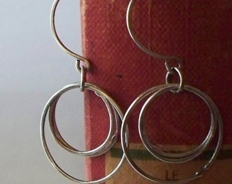 Silver Earrings Handcrafted Oxidized Silver Circles on Handmade Sterling Silver Earwires