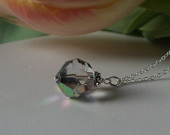 Vintage Smoky Crystal necklace on sterling silver necklace chain