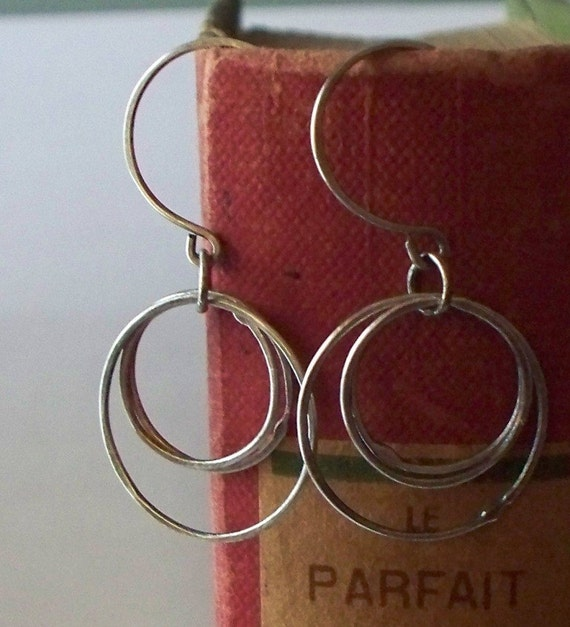 oxidized silver circles earrings on hand made sterling silver earwires