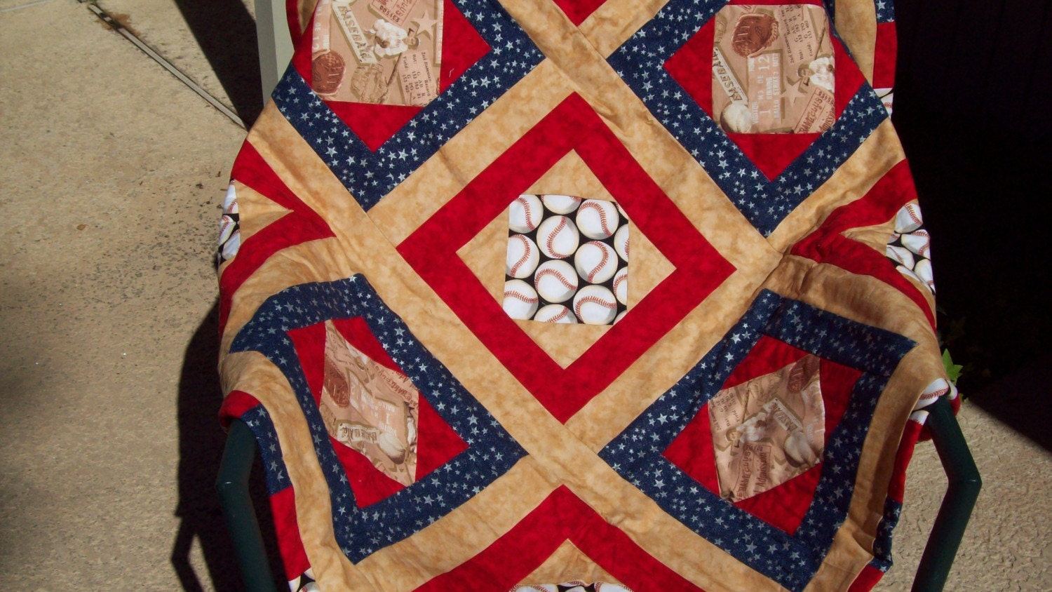 Quilt Patterns For Sports : Home Run Baseball/Sports theme blanket/quilt