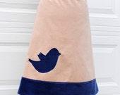 Tweet Blue Bird Skirt, Blue and Tan, Applique