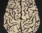 Cerebral 1, human brain, original textile art, textured free machine embroidery, stretched canvas