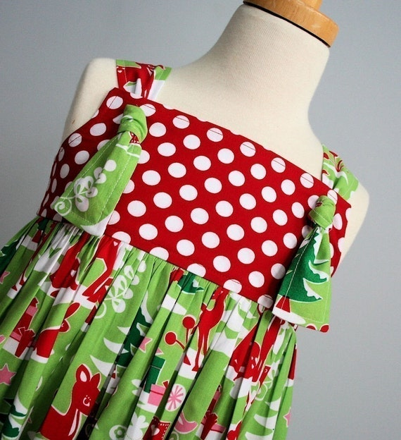 SALE - Ready To Ship Size 3T - Holiday Yule Deer and Polka Dot Knot Dress - By Kissing Kumquats