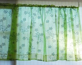 2 Vintage 1960's MCM sheer bright green cherry blossom flower printed short curtian panels curtains