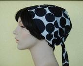 RESERVED FOR nmnm5 Vintage mod black and white polka dotted Designer Badgley Mischka cotton bonnet Big Bow Sash Cap
