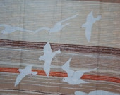 Vintage 1960's pair of Hygenic brand bathroom curtains  striped mod with white seagulls beige, orange and brown