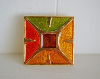 Vintage 60's psychedelic color block gold tone hippie belt buckle