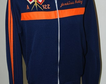 Vintage 1970's navy blue and orange varsity track jacket Robby Jenkins ROCK STEADY embroidered M L