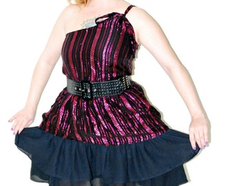 Vintage 1970's sparkly metallic pink and black one shoulder Grecian style ruffled mini party dress M