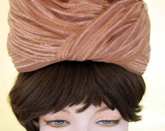 Vintage 1950's Textured striped beige carmel tan tulle mesh net Tall Beehive turban Hat