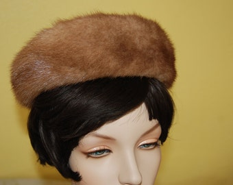 Vintage 1950's  mod beige brown Fur and brocade mid century pill box russian style mink hat