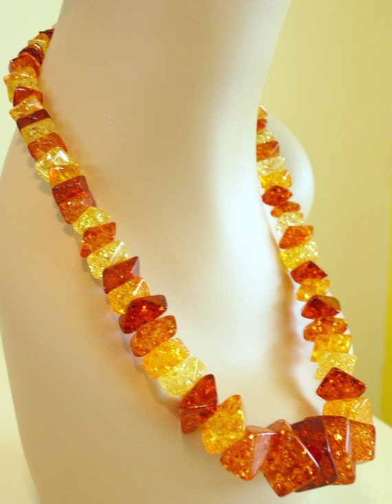 Vintage 60's glitter resin gold yellow and amber large huge statement necklace