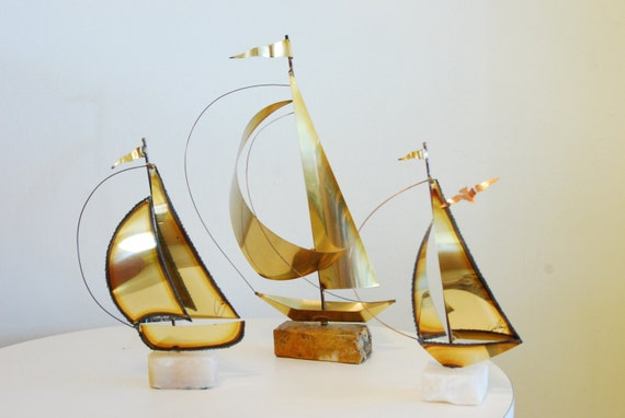 Vtg 1970's Instant collection 3 Mid Century Modern Brass Sailboat Sculptures on Marble Bases signed art