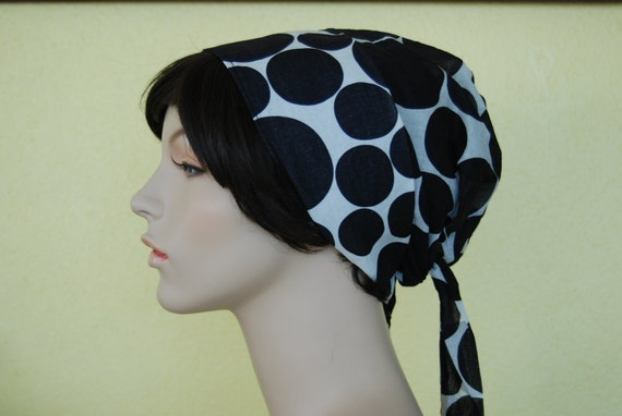 RESERVED FOR nmnm5 Vintage mod black and white polka dotted Designer Badgley Mischka cotton bonnet Big Bow Sash Cap