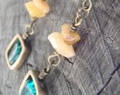 Teal and Gold Dangle Earrings III