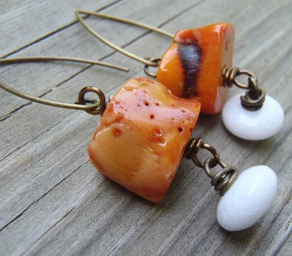 N034 Orange Coral and White Dangle Earrings