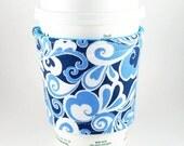 Reversible Coffee Cozy (Blue Swirls\/Blue Dots)