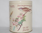 Vintage Decorative Metal tin box container birds trees gold