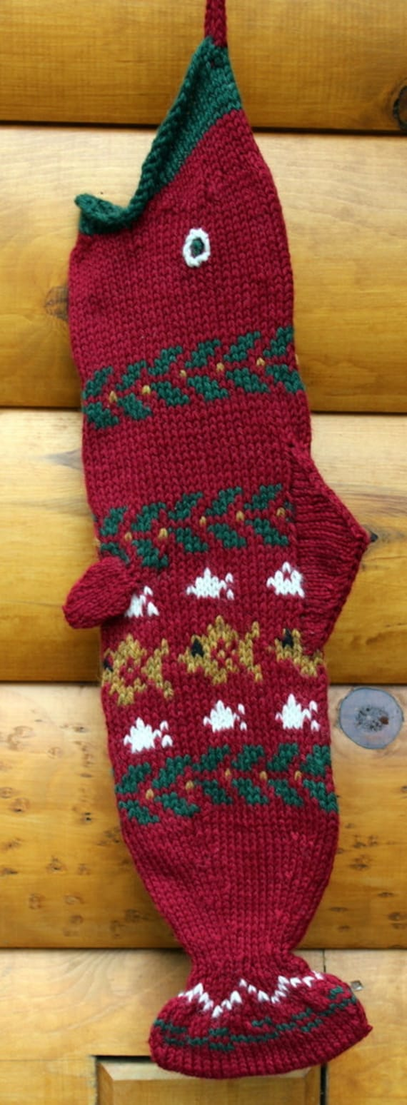 Hand knit fish christmas stocking for Fish christmas stocking