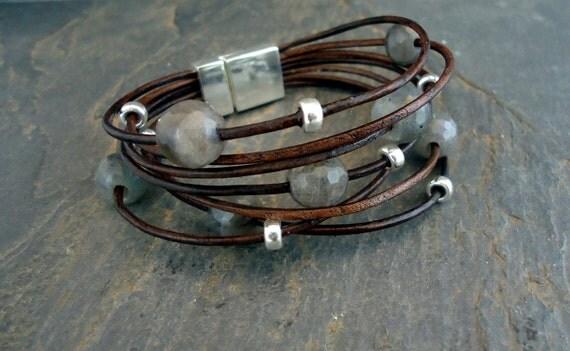 Leather Bracelet,Sterling Silver Bracelet, faceted Labradorite, Multi Strand Bracelet, Boho Chic/IseaDesigns