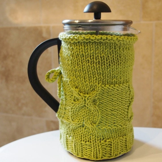 owl french press cozy for ikea kaffee french press in lime. Black Bedroom Furniture Sets. Home Design Ideas