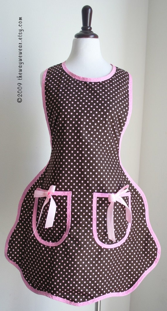 1920s Flapper Apron-Vintage Reproduction (Chocolate Pink Polka Dots) Womans SM\/MED
