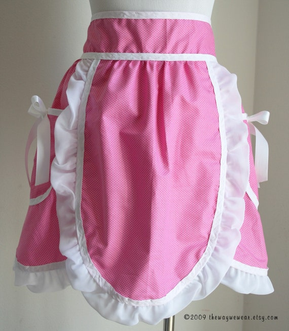 1950s Hostess Petal Apron with Oven Mitt and Potholder Set - Vintage Reproduction (Pink, White Polka Dots) WOMANS SM\/MED