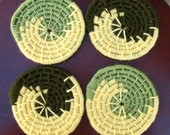 Coaster Set of Four in Green Waves
