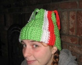 Crochet Beanie Ski Hat in Green White and Red