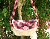 Year End Bag Sale Bag in  Felted Wool  Checkered Pink Crochet