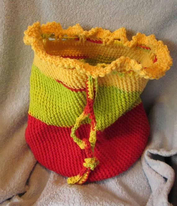 Handmade Crochet Cotton Beach Shopping Tote Bag in Red Green and Yellow