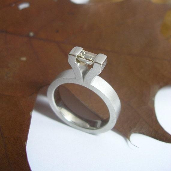 Light brown baguette cut diamond ring