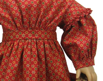 1850's Civil War Dress PDF sewing pattern for 18 inch American Girl Dolls prairie style