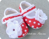 Adorable Red and white polka dot baby booties shoes in your choice of size