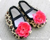 Adorable LEOPARD baby booties shoes with a red little rose flower in your choice of size