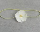 Flower Headband..Baby Girl Headband..Newborn Headband..Photo Prop..Small yellow dainty flower on a thin light yellow elastic headband