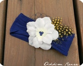 baby headbands - white flower on a navy blue nylon headband with yellow feathers