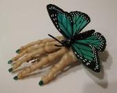 Green Butterfly Skeleton Hair Clip