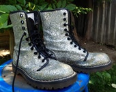 Vintage 1990s Silver Glitter Dr. Martens 10 Eye / Doc Martens Made in England Womens US6