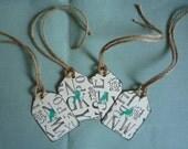 vintage alpha and crow tag set